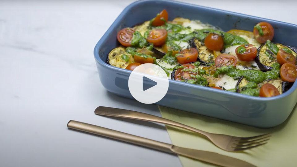 Imagen de la receta alteza de milhojas de verduras con pesto de kale