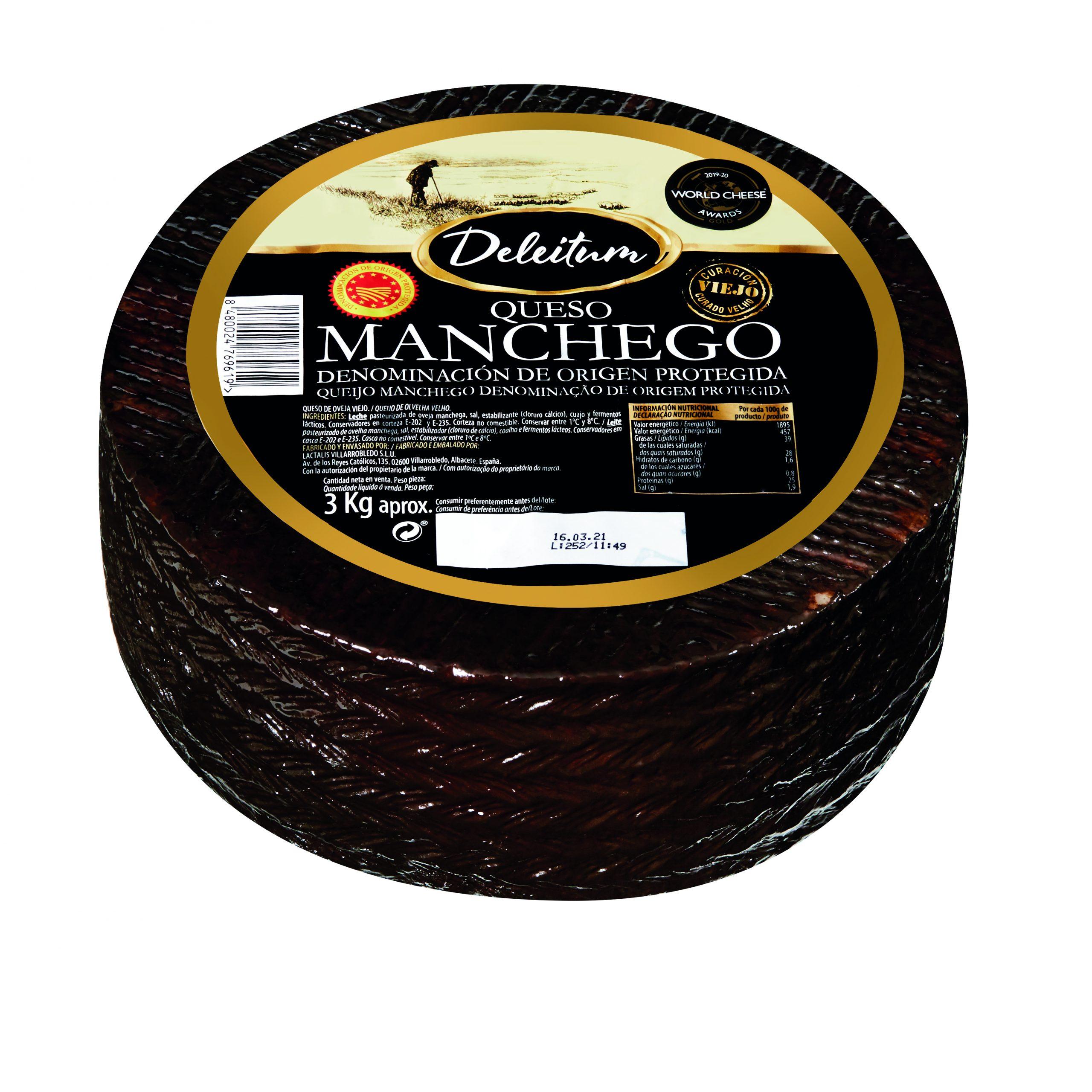 Foto de estudio del queso Manchego Viejo Deleitum galardonado con la medalla medalla de oro como mejor queso del mundo