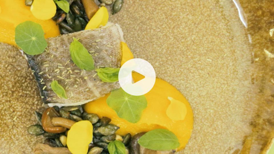imagen de plato bacalao con calabaza y setas