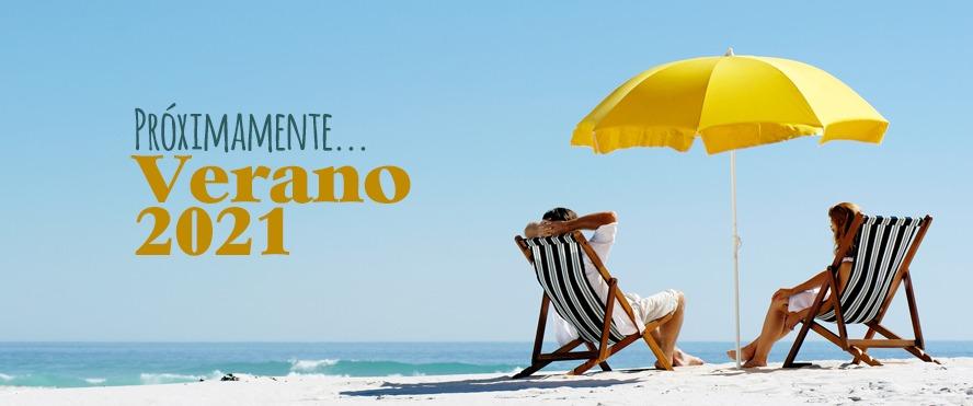 Banner revista Gente de hoy Verano 2021 donde se ven dos personas en dos tumbonas en la playa bajo una sombrilla amarilla